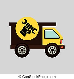 construction gear icon hand wrench vector illustration eps10