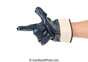 construction, gloved, finge, pointage, main
