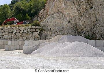 construction, gravier, usine, carrière, pierres, aggregates