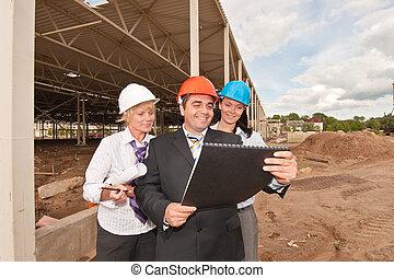 construction, groupe, site, ingénieurs