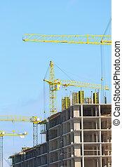 construction, grues, haut-ascension, bâtiments