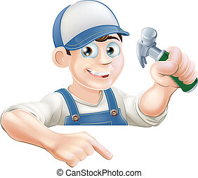 A cartoon carpenter or construction guy with a hammer peeking over a sign or banner and pointing at it