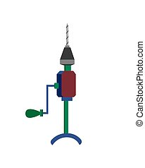 Construction hand drill. Vector illustration on a white background.