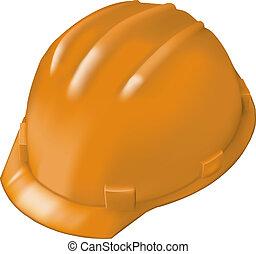 Construction hard hat on white