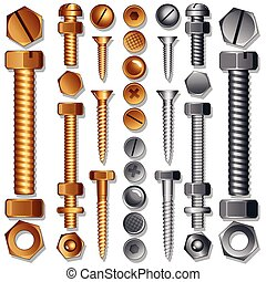 Set of Screws, Bolts, Nuts and Rivets.