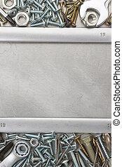 construction hardware - metal construction hardware tool on...