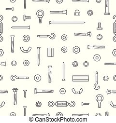 Construction hardware, screws, bolts, nuts and rivets pattern background. Equipment stainless, fasteners, metal fixation gear seamless pattern.