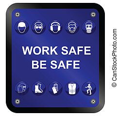 Construction Health and Safety sign isolated on white background