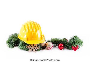 Construction helmet and christmas