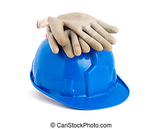 Construction helmet and gloves isolated on white