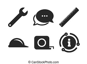 Construction helmet and ruler, roulette icons. Vector