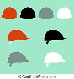 Construction helmet different colour icon.