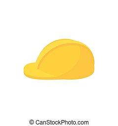 Construction helmet icon, cartoon style