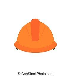 Construction helmet icon, flat style