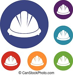 Construction helmet icons set in flat circle reb, blue and...