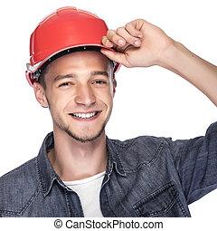 construction, helmet., jeune homme