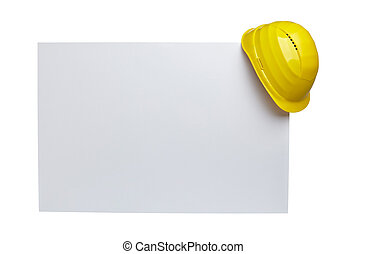 close up of a yellow construction helmet on white blank note white background with clipping path