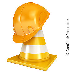 Construction Helmet. Traffic cones