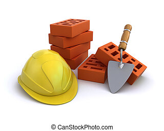 Construction helmet with bricks and