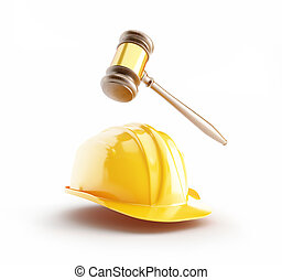 construction helmet, wood gavel, law