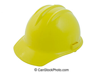 Construction helmet - Yellow construction helmet side view,...