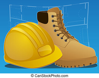 Construction Icon - Work boots and hard hat on a blue print...