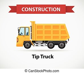 Construction icon for tip truck illustration