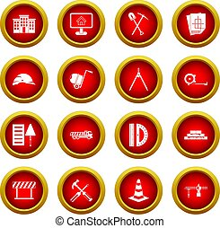 Construction icon red circle set