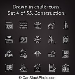 Construction icon set drawn in chalk.