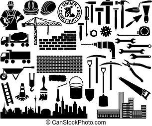 construction icon set (wheelbarrow, hammer, nail,...