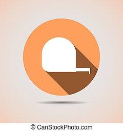 Construction icon tape measure key in orange background