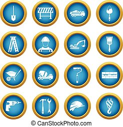 Construction icons blue circle set