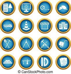 Construction icons blue circle set