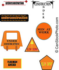 construction icons - construction signs and icons for road...