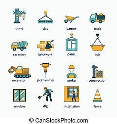 Construction icons flat line set