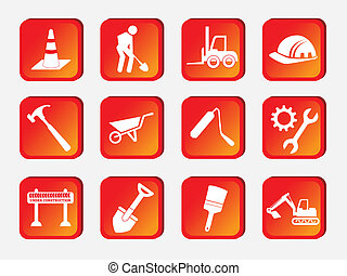 construction icons over white background vector illustration...