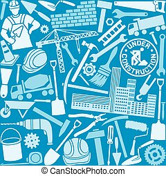 construction icons seamless pattern
