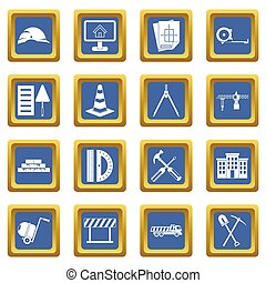 Construction icons set blue