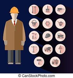 Construction Icons Set Builder Illustration