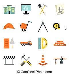 Construction icons set, flat style