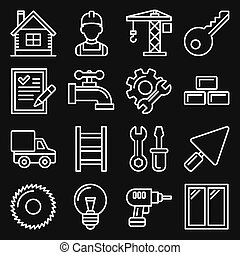 Construction Icons Set on Black Background. Line Style Vector
