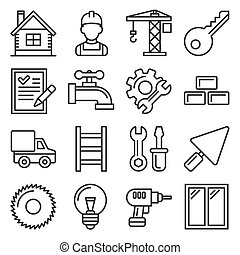 Construction Icons Set on White Background. Line Style Vector