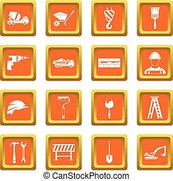 Construction icons set orange