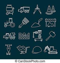 Construction icons set outline