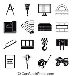 Construction icons set, simple style