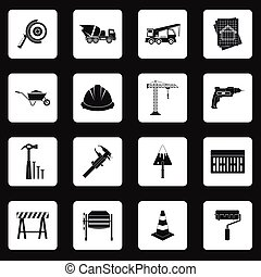 Construction icons set , simple style