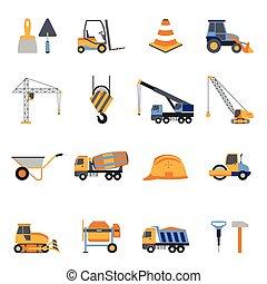 Construction Icons Set - Construction icons set with builder...