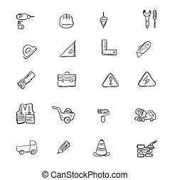 construction icons set, vector