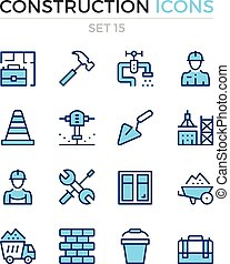 Construction icons. Vector line icons set. Premium quality. Simple thin line design. Modern outline symbols, pictograms