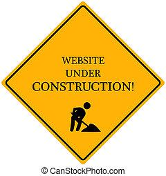 """construction\""""., image, signe jaune, sous, lecture, \""""website"""